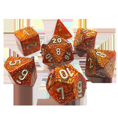 Set 7 zaruri Glitter Rubiniu (auriu)