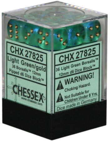 Set 36 zaruri d6 borealis Verde deschis (auriu) imagine