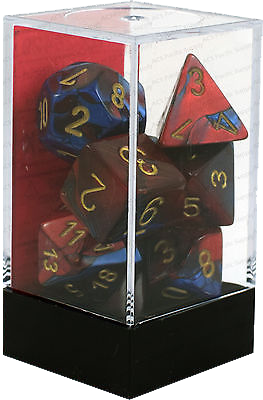 Set 7 zaruri Gemini Albastru/rosu (auriu)