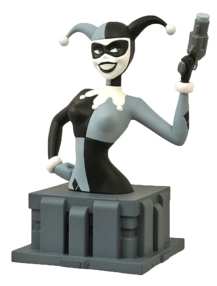 """Batman: The Animated Series - Bust """"Almost Got 'Im"""" Harley Quinn Black & White (NYCC 2015 Exclusive) imagine"""