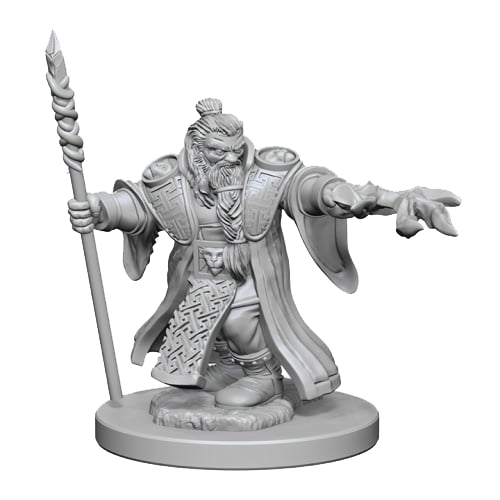 D&D Unpainted Miniatures: Dwarf Male Wizard