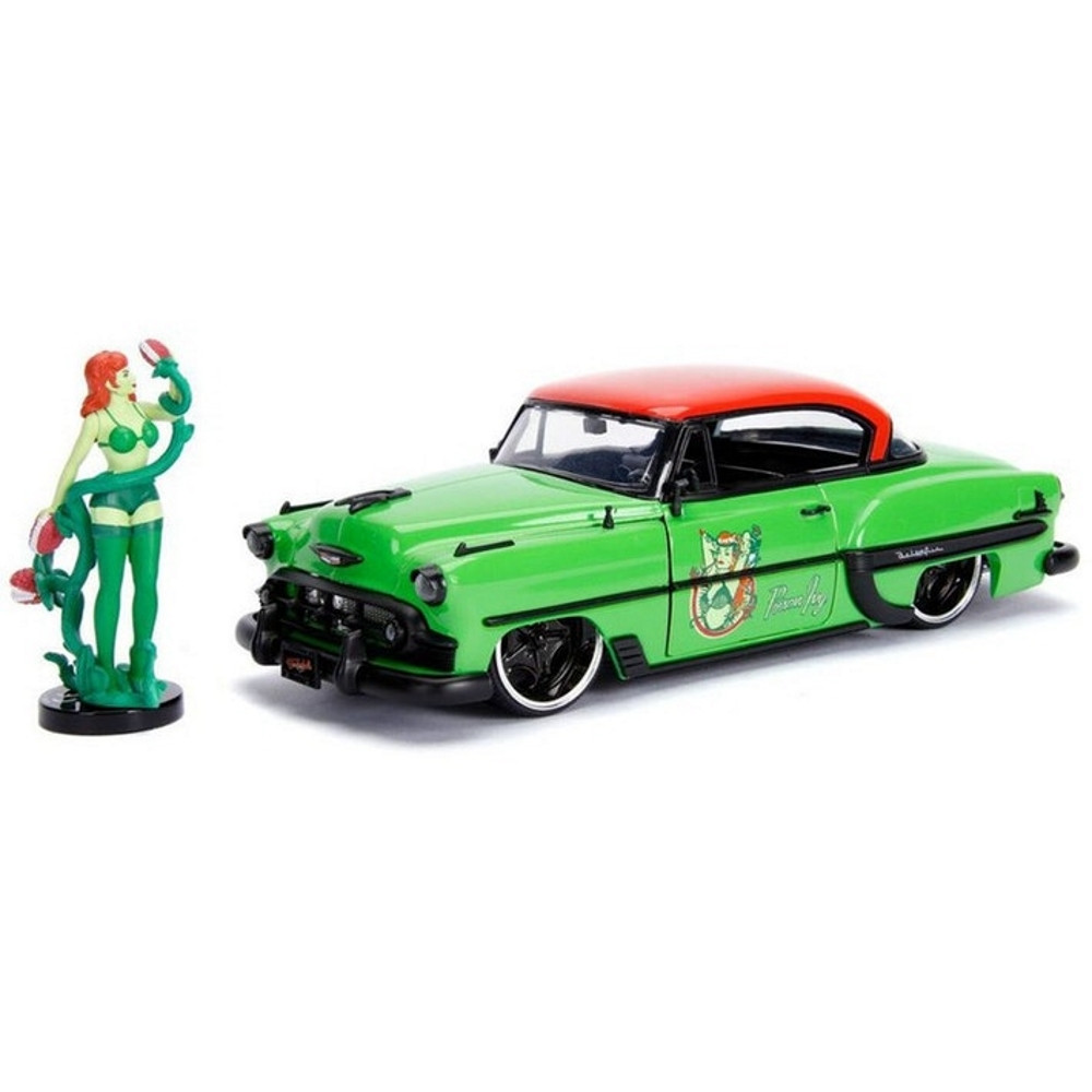 Figurina DC Bombshells Diecast Model Hollywood Rides 1953 Chevy Bel Air Hard Top cu Figurina Poison Ivy imagine