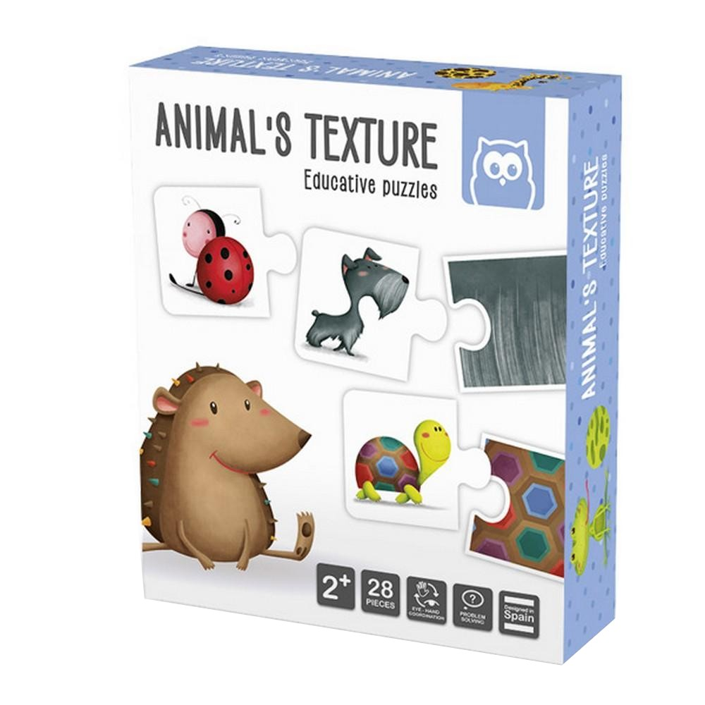 Puzzle Educativ Montessori Texturile Animalelor