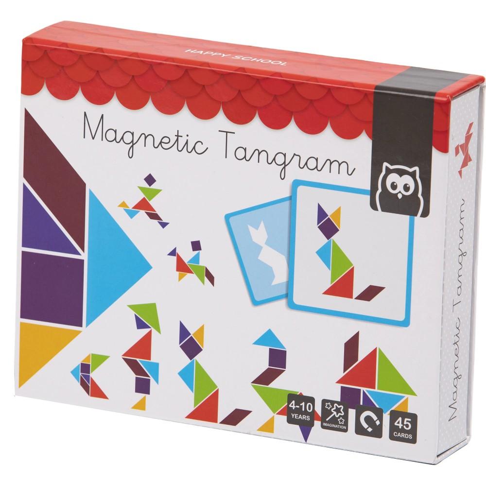 Puzzle Magnetic Educativ din Lemn Tangram imagine