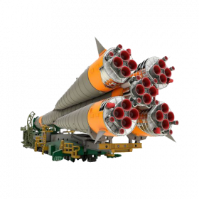 Soyuz Rocket & Transport Train Plastic Model Kit