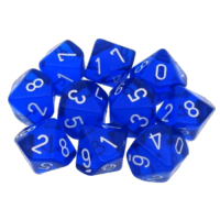 Set 10 Transulcent D10 Dice