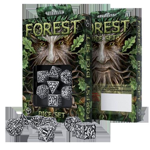 Forest 3D Dice Set white & black