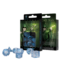 Elvish Dice Set translucent & blue