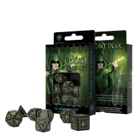 Elvish Dice Set black & glow-in-the-dark